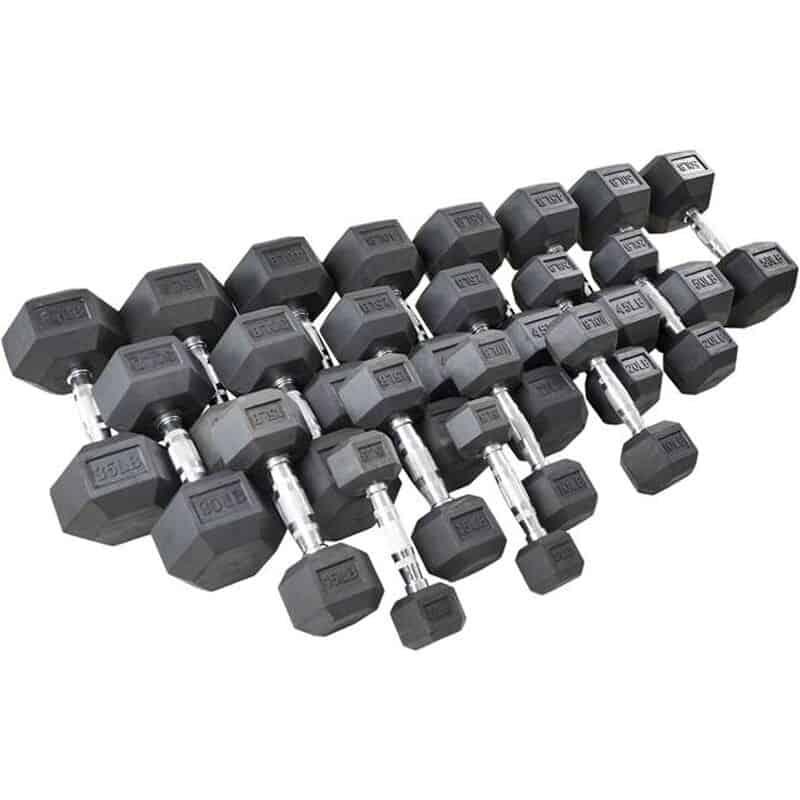Titan Black Rubber Hex Dumbbells