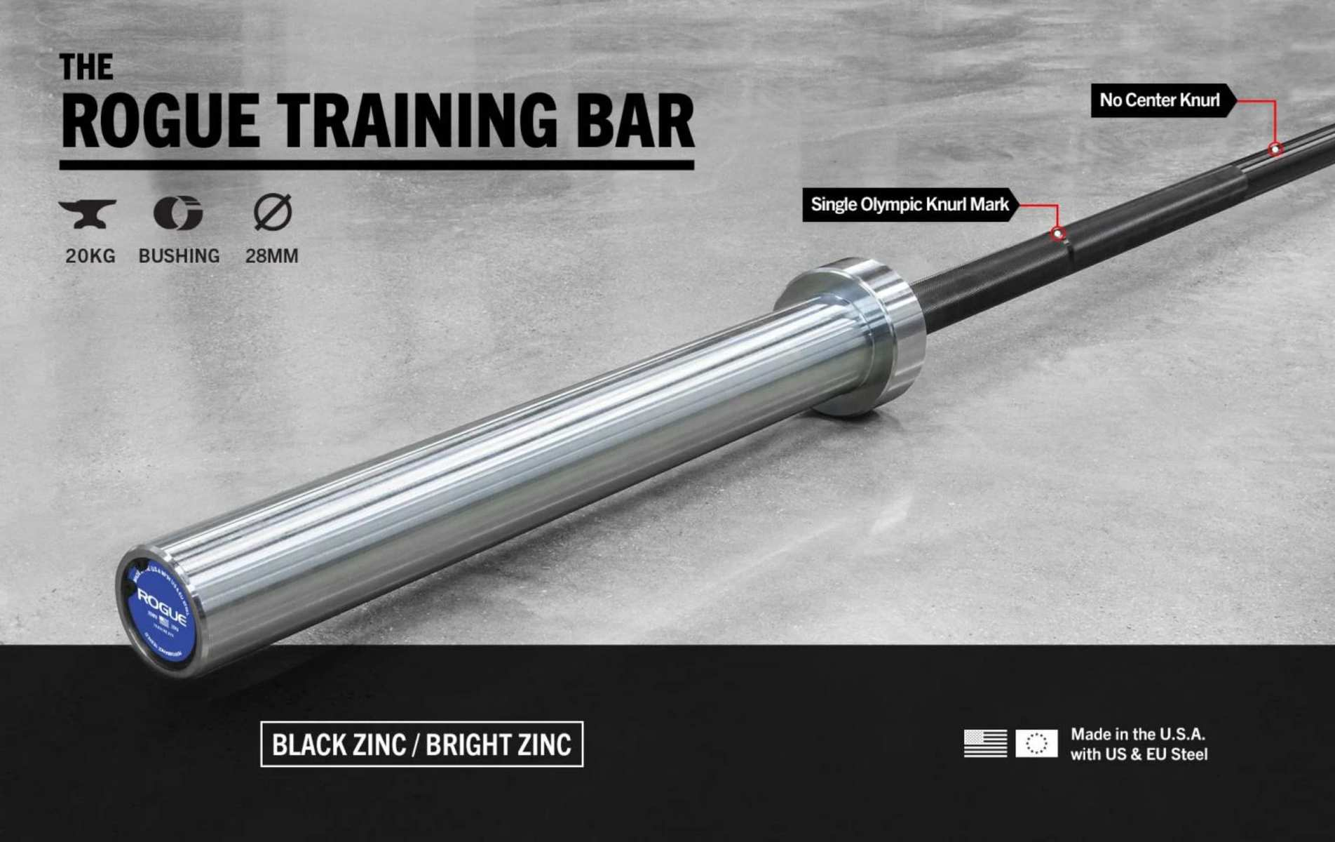 Rogue 28MM Training Bar - Black Zinc