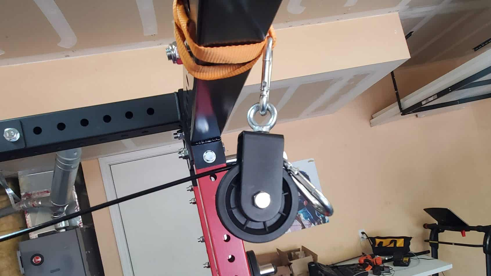 How To Make Your Own DIY Home Gym Pulley System first carabiner and pulley setup