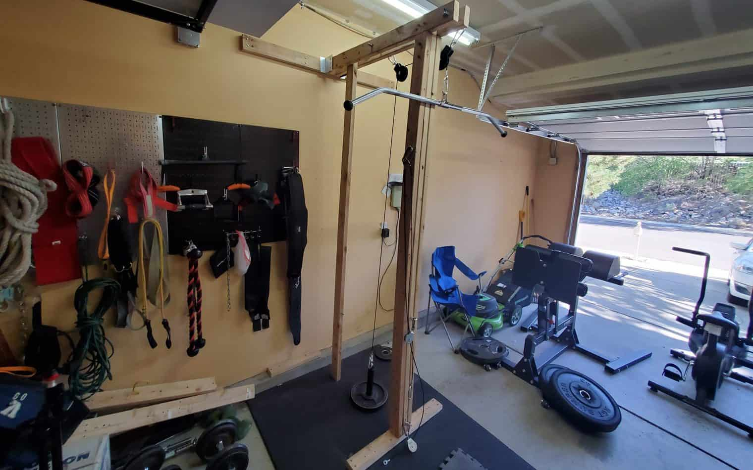 overbuilt lat pulldown and pulley system for home gym using lumber